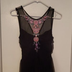 Express Black Floral Fit and Flare Sz 2